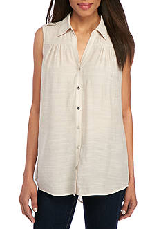 New Directions Solid Button Down Blouse
