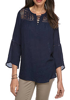 New Directions Bell Sleeve Lace Up Top