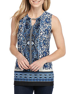 New Directions Sleeveless Printed Top With Bar Front