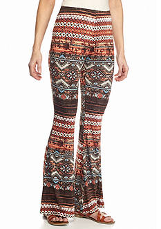 New Directions Aztec Stripe Bell Bottom Pants