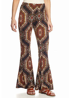 New Directions Paisley Medallion Bell Bottom Pant