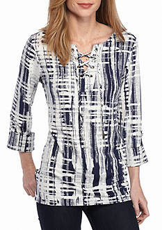 New Directions Plaid Lace Up Tie Dye Jacquard Top
