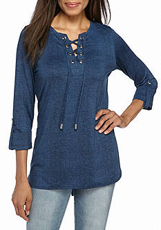 New Directions Lace Up Knit Tunic Top