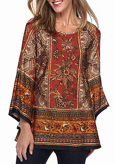 New Directions Floral Border Printed Tunic Top
