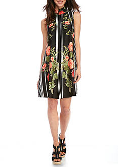 New Directions Floral Print Swing Dress