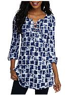 New Directions® Print Lace Up Swing Tunic