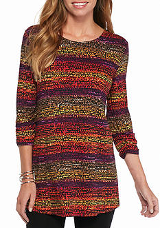 New Directions Speckled Stripe Swing Tunic Top
