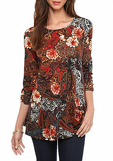 New Directions Paisley Floral Swing Top