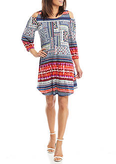 New Directions Cold Shoulder Swing Dress
