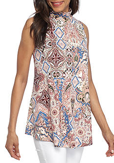 New Directions® Sleeveless Medallion Printed Swing Top