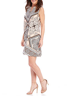New Directions Sleeveless Printed Swing Dress