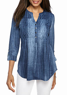 New Directions Wave Pleated Tunic Top