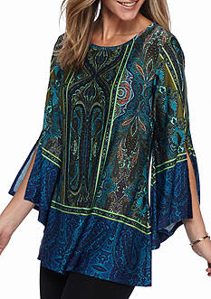 New Directions Paisley Border Printed Tunic Top