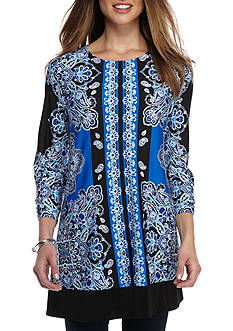 New Directions Paisley Print Tunic Top