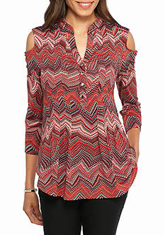New Directions Printed Cold Shoulder Top