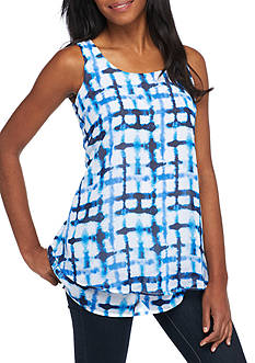 New Directions Sleeveless Grid Print Chiffon Overlay Blouse