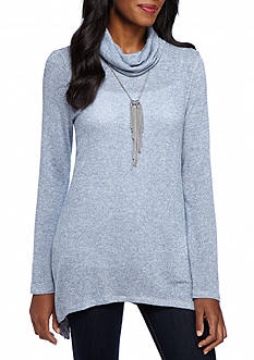 New Directions Shimmer Sharkbite Necklace Tunic Top