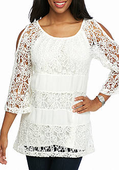 New Directions Allover Lace Cold Shoulder Top