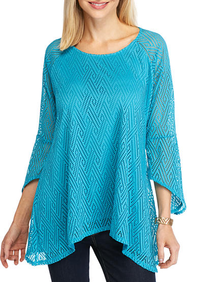 New Directions® Allover Lace Sharkbite Top