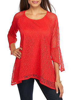 New Directions Allover Lace Sharkbite Top
