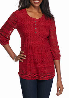 New Directions Lace Swing Henley Top