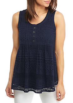 New Directions Sleeveless All-Over Lace Tank