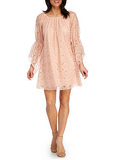 New Directions Ruched Neck Lace Dress
