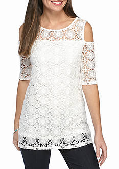 New Directions Lace Cold Shoulder Top