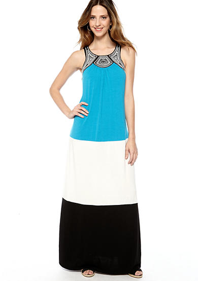 New Directions® Colorblock Maxi Dress with Embroidery