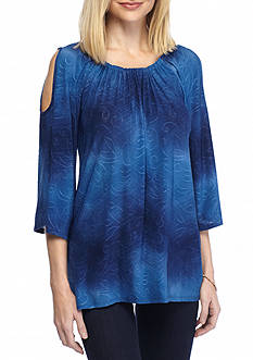 New Directions Ombre Cold Shoulder Top