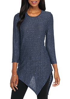 New Directions Ribbed Pointed Hem Top