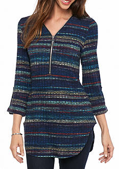 New Directions Zip Front Stripe Rib Top