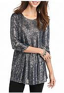 New Directions® Metallic Rib Swing Tunic Top
