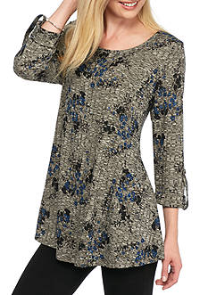 New Directions Floral Rib Swing Top