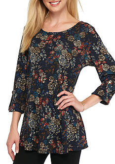 New Directions Floral Ribbed Swing Top