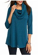 New Directions® Ribbed Cowl Neck Tunic Top