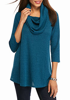 New Directions Ribbed Cowl Neck Tunic Top