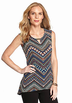 New Directions® Tribal  chevron Bar Neckline Sharkbite Top