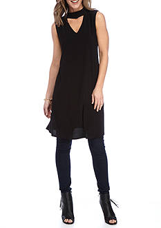 New Directions Solid Choker Neck Swing Dress