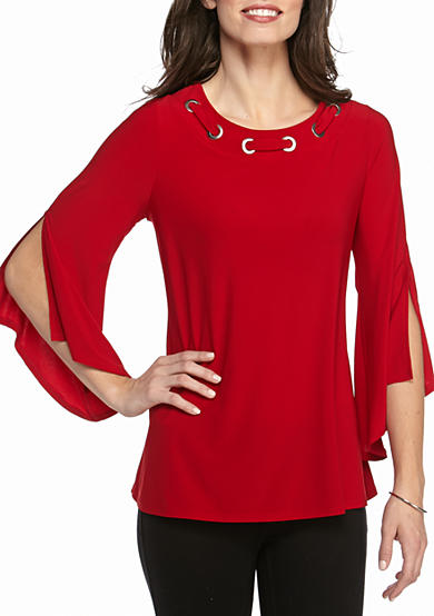 New Directions® Solid Grommet Bell Sleeve Top