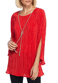 New Directions Pleated Top with Necklace