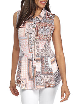New Directions® Patchwork Print Button Front Top