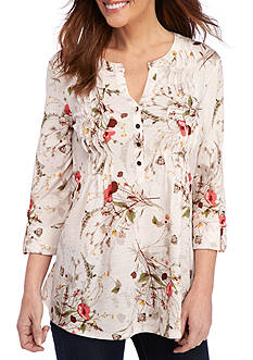 New Directions® 3/4 Sleeve Floral Wavy Top with Pleated Front