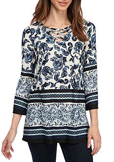 New Directions 3/4 Sleeve Faux Lace-up Top
