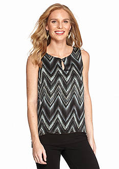 New Directions® Chevron Flyaway Chiffon Blouse