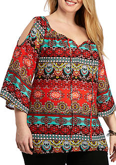 New Directions Plus Size Mixed Print Cold Shoulder Blouse
