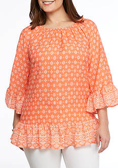 New Directions Plus Size Printed Off The Shoulder Flounce Hem Tunic Blouse