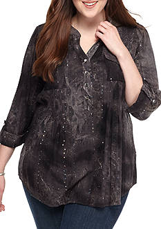 New Directions Henley Sequin Shirt