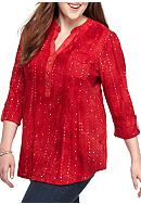 New Directions® Henley Sequin Shirt