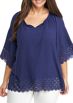 New Directions Plus Size Solid Laser Cut Cold Shoulder Blouse